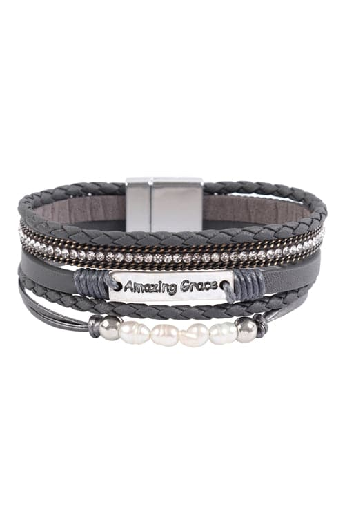 Amazing Grace Multi Line Leather With Magnetic Lock Bracelet Gray - Pack of 6