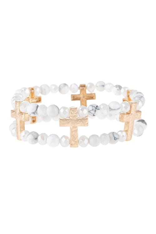 Cross Charm Two Line Beaded Bracelet White - Pack of 6