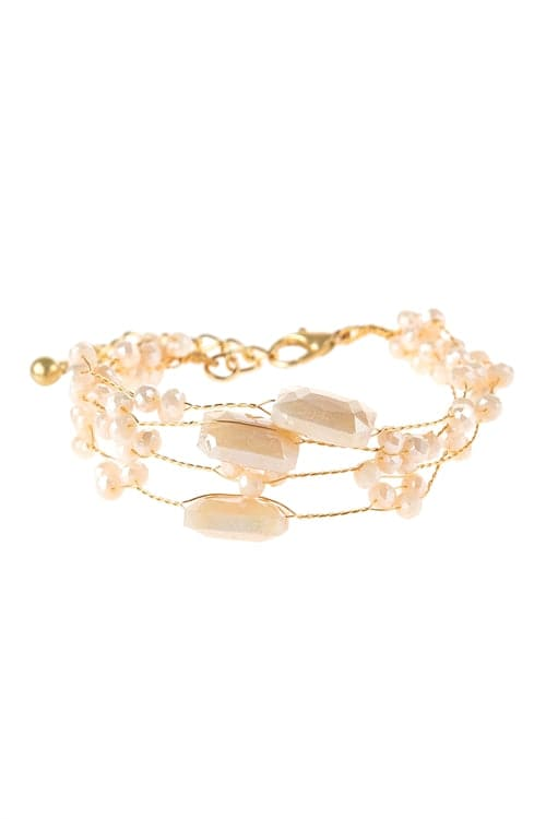 Delicate Stone Beaded Bracelet Natural - Pack of 6