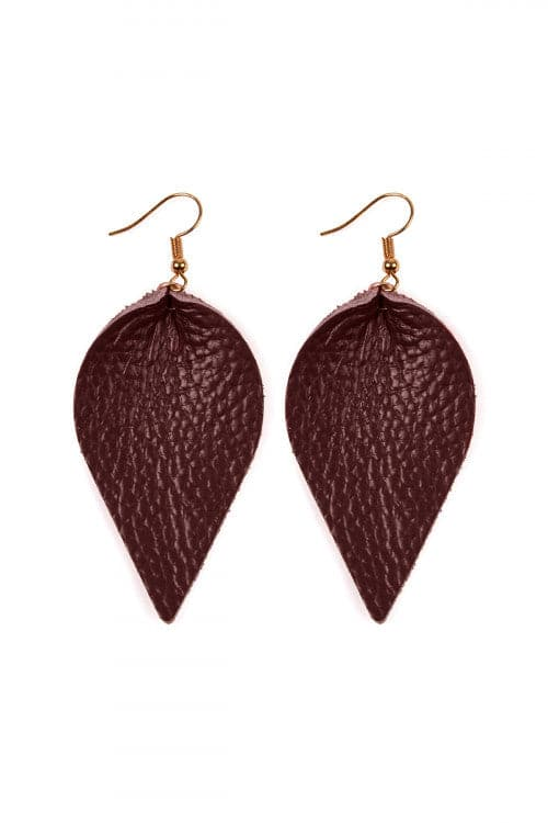 Burgundy Teardrop Shape Pinched Leather Earrings - Pack of 6