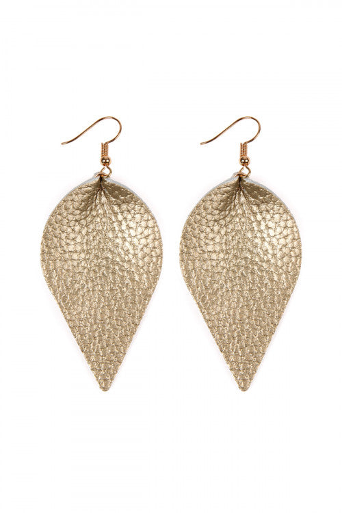 Teardrop Shape Pinched Leather Earrings Gold - Pack of 6