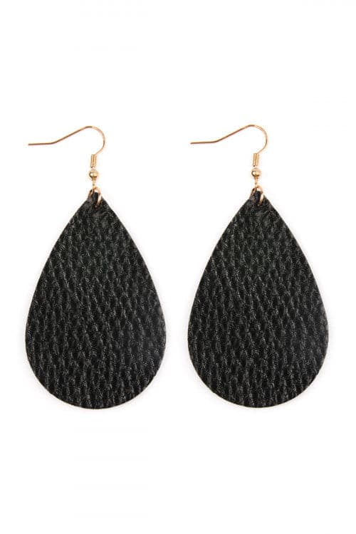 Black Teardrop Leather Earrings - Pack of 6