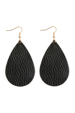 Black Pinched Glittery Leather Drop Earrings - Pack of 6