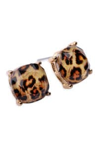 Leopard Faceted Cushion Glitter Acrylic Post Earrings - Pack of 6