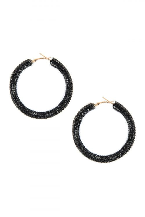 Jet Black Rhinestone Coated Hoop Earring - Pack of 6