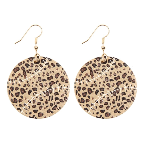 Leopard Sports Ball Leather Earrings - Pack of 6