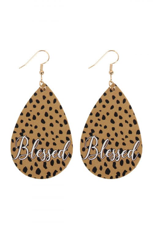 """Blessed"" Animal Print Leather Fish Hook Earrings Cheetah - Pack of 6"