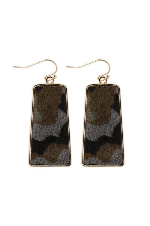 Camouflage Gray Leather Printed Bar Dangling Fish Hook Earrings - Pack of 6