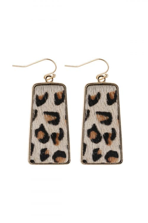 Leopard Printed Leather Bar Dangling Fish Hook Earrings - Pack of 6
