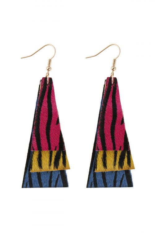 Animal Print Layered Leather Trapezoid Hook Earrings Style 2 - Pack of 6