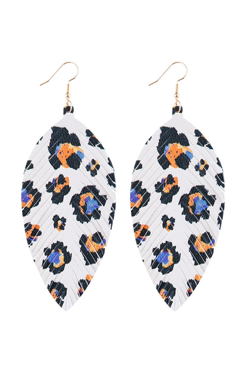 Multi Color 9 Vibrant Leather Drop Earrings - Pack of 6