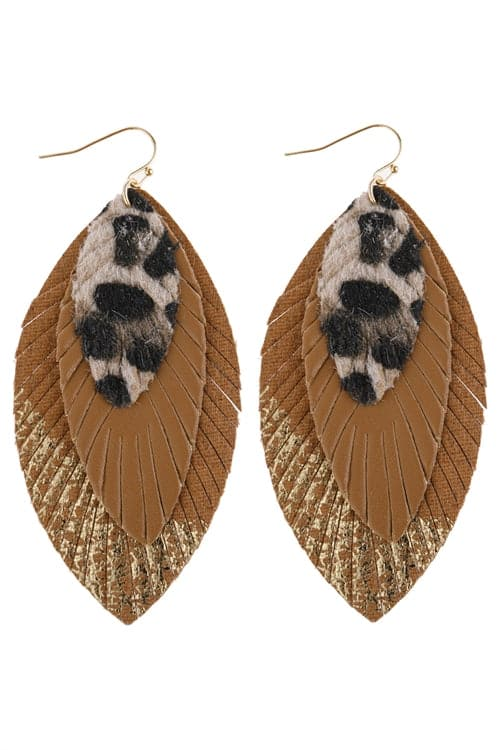Gold Layered Fringe Leather Earrings - Pack of 6