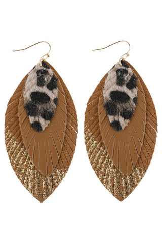 Fan Tassel Post Dangle Earrings Light Brown - Pack of 6