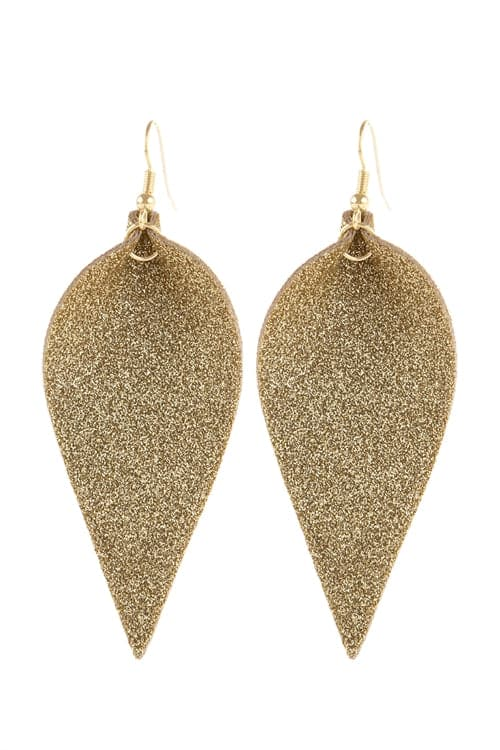 Gold Pinched Glittery Leather Drop Earrings - Pack of 6