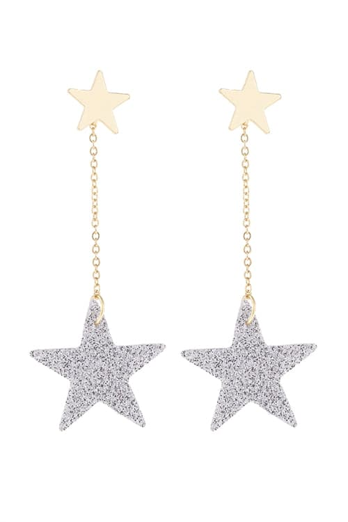 Silver Dangling Glitter Star Earrings - Pack of 6