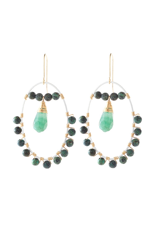 Natural Stone Beaded Drop Earrings Green - Pack of 6