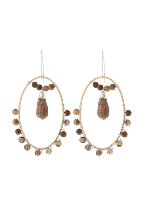 Natural Stone Beaded Drop Earrings Brown - Pack of 6