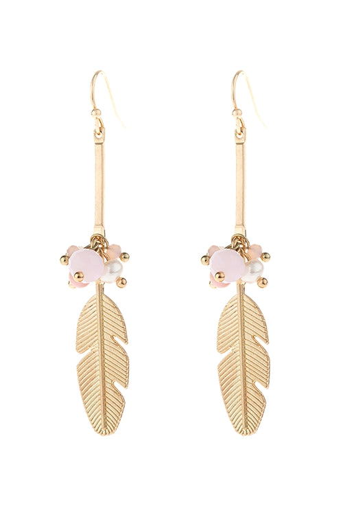 Cast Feather Charm Drop Earrings Gold Pink - Pack of 6