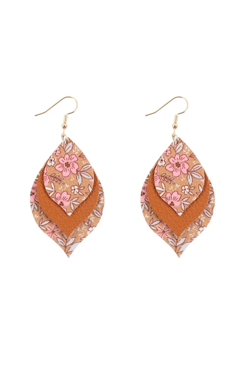 Floral Leather Marquise Drop Earrings Brown - Pack of 6