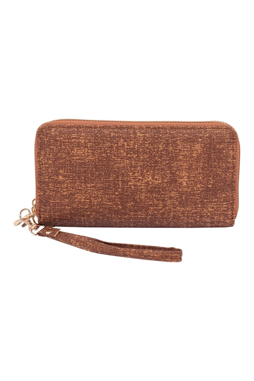 Brown Double Zipper Fashion Wallet