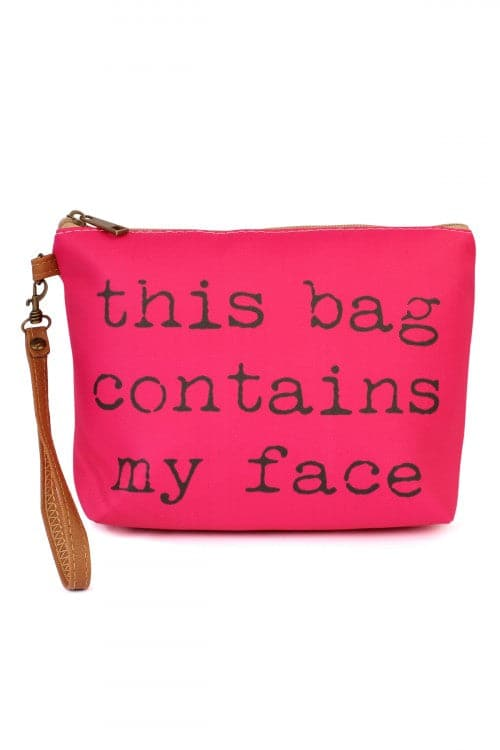My Face Wristlet Makeup Bag Fuchsia