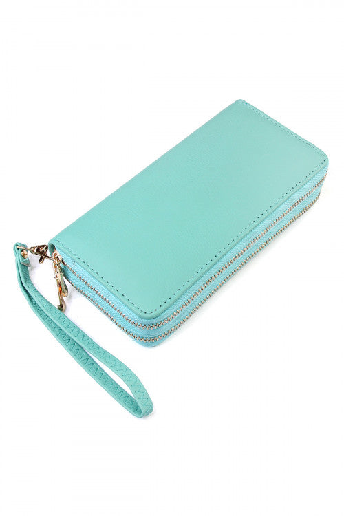 Double Zip Around Wallet Mint