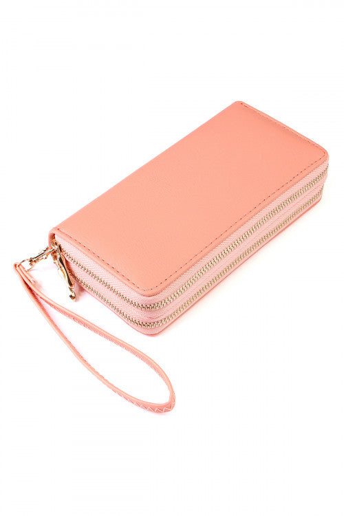 Double Zip Around Wallet Pink