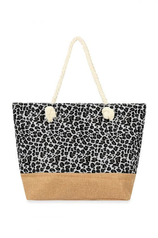 Leopard Cork Print Cosmetic Bag Style 2 Black - Pack of 6
