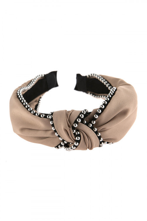 Knotted Headbands Beige - Pack of 6
