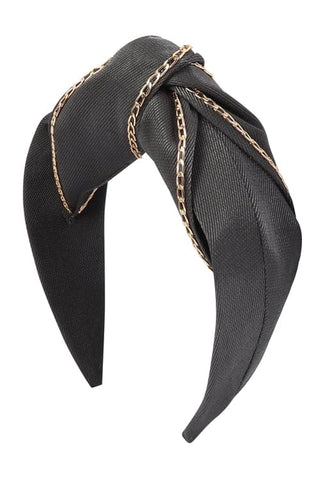 Wrinkled Fashion Head Band Black - Pack of 6
