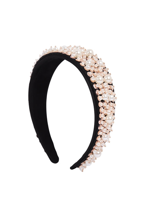 Acrylic Pearl Coated Headband Gold - Pack of 6