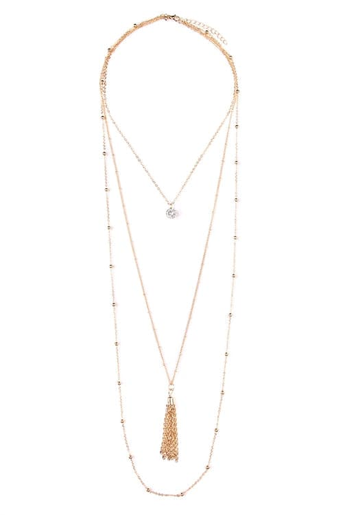 Gold Pendant Tassel Layer Necklace - Pack of 6