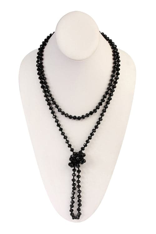 Jet Black Longline Hand Knotted Necklace - Pack of 6