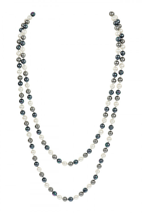 60 Inches Glass Coated Real Pearl Necklace Dark Gray
