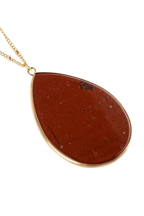 Red Oval Stone Pendant Necklace - Pack of 6