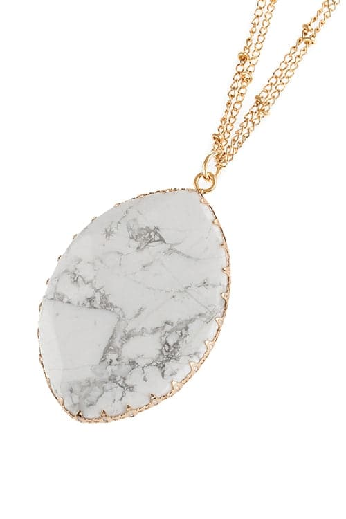 White Natural Stone Wrap Oval Pendant Chain Necklace - Pack of 6