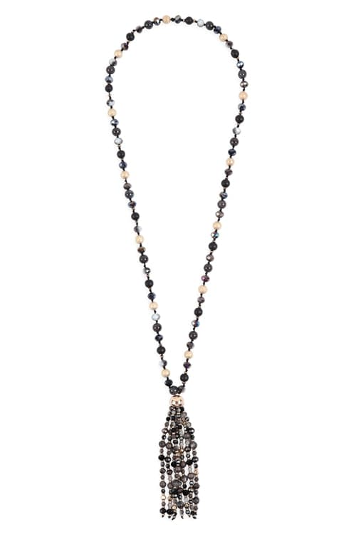 Beaded Tassel Statement Necklace Black - Pack of 6