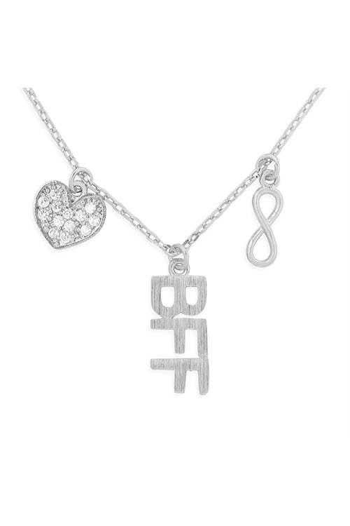 Infinity Heart BFF Cubic Zirconia Pendant Necklace Silver - Pack of 6