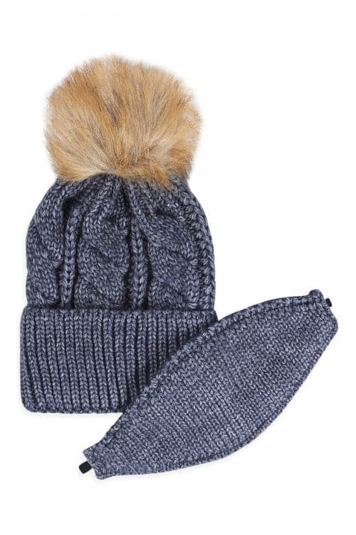 Navy Knitted Pom Beanie With Matching Mask - Pack of 6