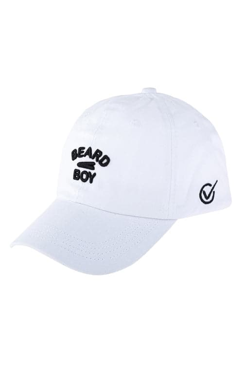 Beard Boy Embroidered Cap White - Pack of 6