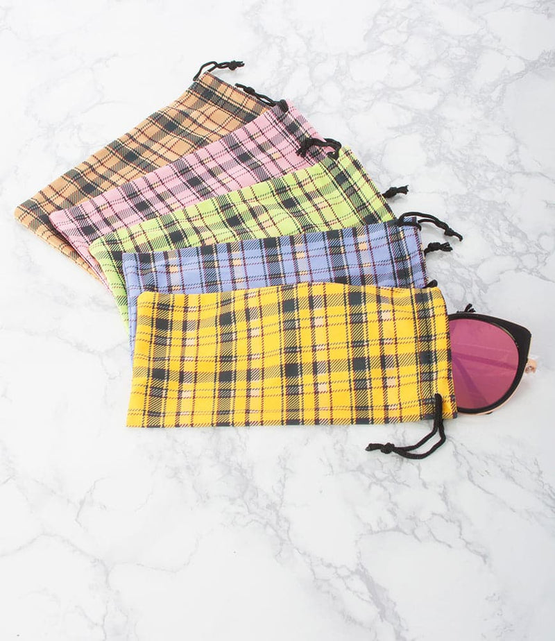 Plaid Print Sunglass Pouch - Pack of 12
