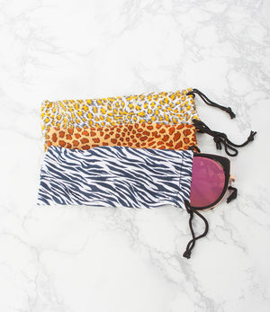 Animal Print Sunglass Pouch - Pack of 12