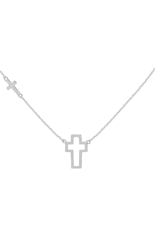 Open Cross Pendant Necklace Silver - Pack of 6