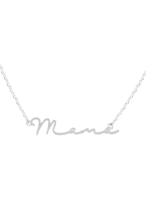 """Mama"" Letter Necklace Matte Silver - Pack of 6"