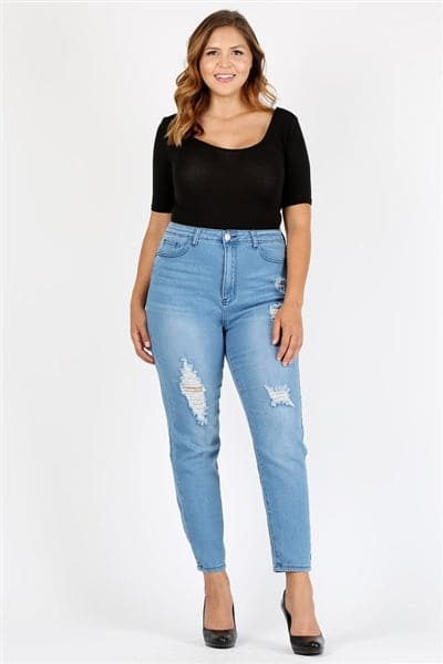 Plus Size High Waist Ripped Skinny Jeans - Pack of 6