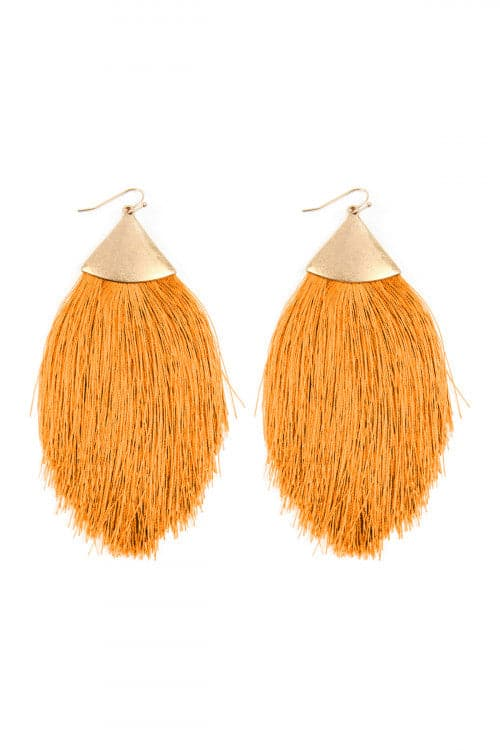 Yellow Tassel Drop Earrings - Pack of 6