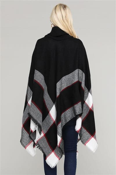 Women Pull Over Color-Blocked Poncho Black - Pack of 6