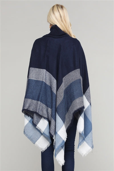 Women Pull Over Color-Blocked Poncho Navy - Pack of 6
