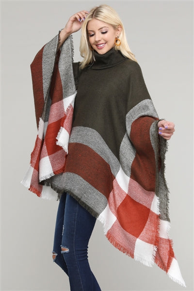 Women Pull Over Color-Blocked Poncho Olive - Pack of 6