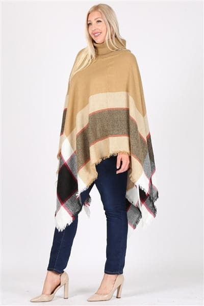 Plus Size Pull Over Poncho Beige - Pack of 6